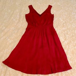 WHBM Pleated Dress with Waist Tie and Pockets